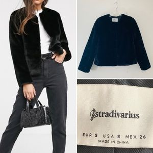 Stradivarius faux fur jacket.  Size S